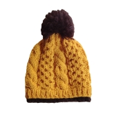 Herbst Winter Frauen gestrickter Hut Contrast Bobble Beanies Ski Hut warme Dicke Mütze Kopfbedeckung