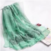 Mood elegantne naiste sall portselan pikk sall Wrap Pashmina roheline trükkimine