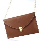 Moda mujer mujeres envolvente embrague cadena bolso bolso hombro Tote Messenger Bag café