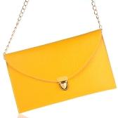 Fashion Lady Frauen Umschlag Kupplung Kette Tasche Handtasche Schulter Tote Messenger Bag gelb
