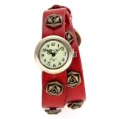 Frauen Damen Vintage Punk-Stil Rose Wrap-Around-Leder Armband Wrist Watch Red