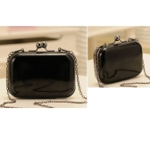 Fashion Women Lady Messenger Bag Shoulder Day Clutch Evening Bag Chain Candy Color Mini Box Crossbody Bag Black