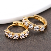 1Pair claro cristal zircão 18k ouro chapeado Cruz gota Dangle pingente argola orelha brincos jóias presente para mulheres senhora
