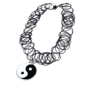 Cosecha tatuaje estiramiento gargantilla collar cuello elástico Retro Bagua Tai Chi colgante estilo chino accesorios de la joyería