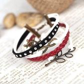 Moda retrô Vintage Punk Rock multicamadas de couro trançado pingentes pulseira pulseira jóias acessório
