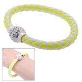 Moda gioielli accessorio in pelle fibbia magnetica strass cristallo braccialetto braccialetto braccialetto
