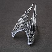 Mode Design Jahrgang Persönlichkeit Engel Flügel Strecken verstellbarer Ring mit Charme