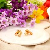 Aleación de cobre 18K oro plateado Zircon Stud pendientes joyas regalo para mujeres Dama