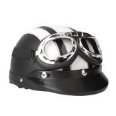 Moto Scooter Open Face Demi casque de cuir avec visière UV Lunettes Retro Vintage Style 54-60cm