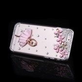 Lusso chiaro trasparente cristallo Bling strass Diamond Flower balletto ragazza caso Hard Back Cover protettivo Shell per Apple iPhone 6