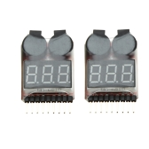 2Pcs 1-8S Indicator RC Li-ion Lipo Battery Tester Low Voltage Buzzer Alarm