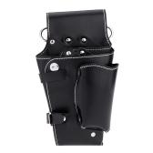 Schwarz Friseur  Hüfttasche für Hairdressing Werkzeug aus weichem Leder Schere Kamm Tasche
