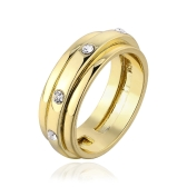 R612-8 Wholesale High Quality Nickle Free Antiallergic New Fashion Jewelry 18K Real Gold PlatedRing