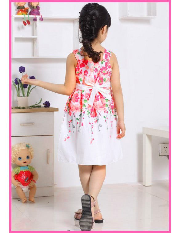 774d120ab41c0a Nouvelles filles enfants fleur imprimé modèle robe de princesse robe sans  manches 5 tailles blanc 3t - Tomtop.com