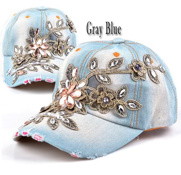 9433c1680cd76 Moda ajustable tapa ocio pedrería flores Jean béisbol Sombrero Gorra de  béisbol para mujeres blau - Tomtop.com
