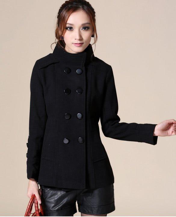 chaquetas Trench de de doble y botón mediano mujer lana Abrigos I4gwpx5