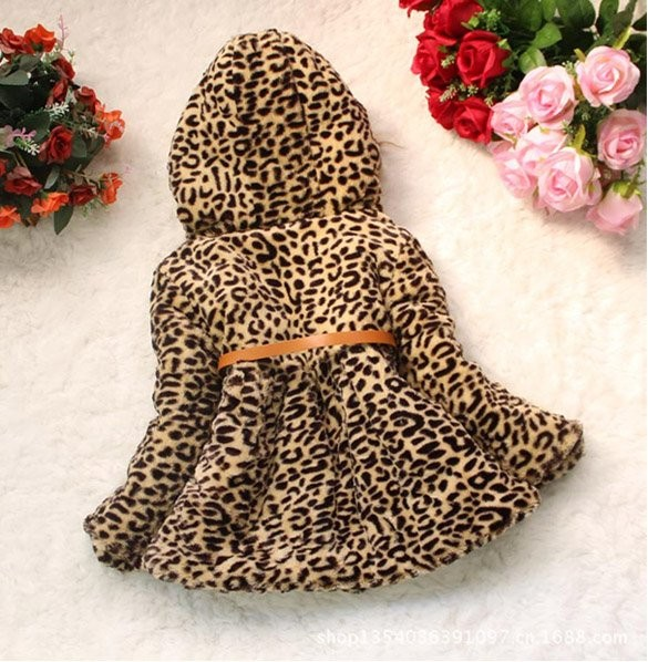 718aa7c36 Baby Children Girls Leopard Faux Fox Fur Collar Hoodie Coat Clothing ...