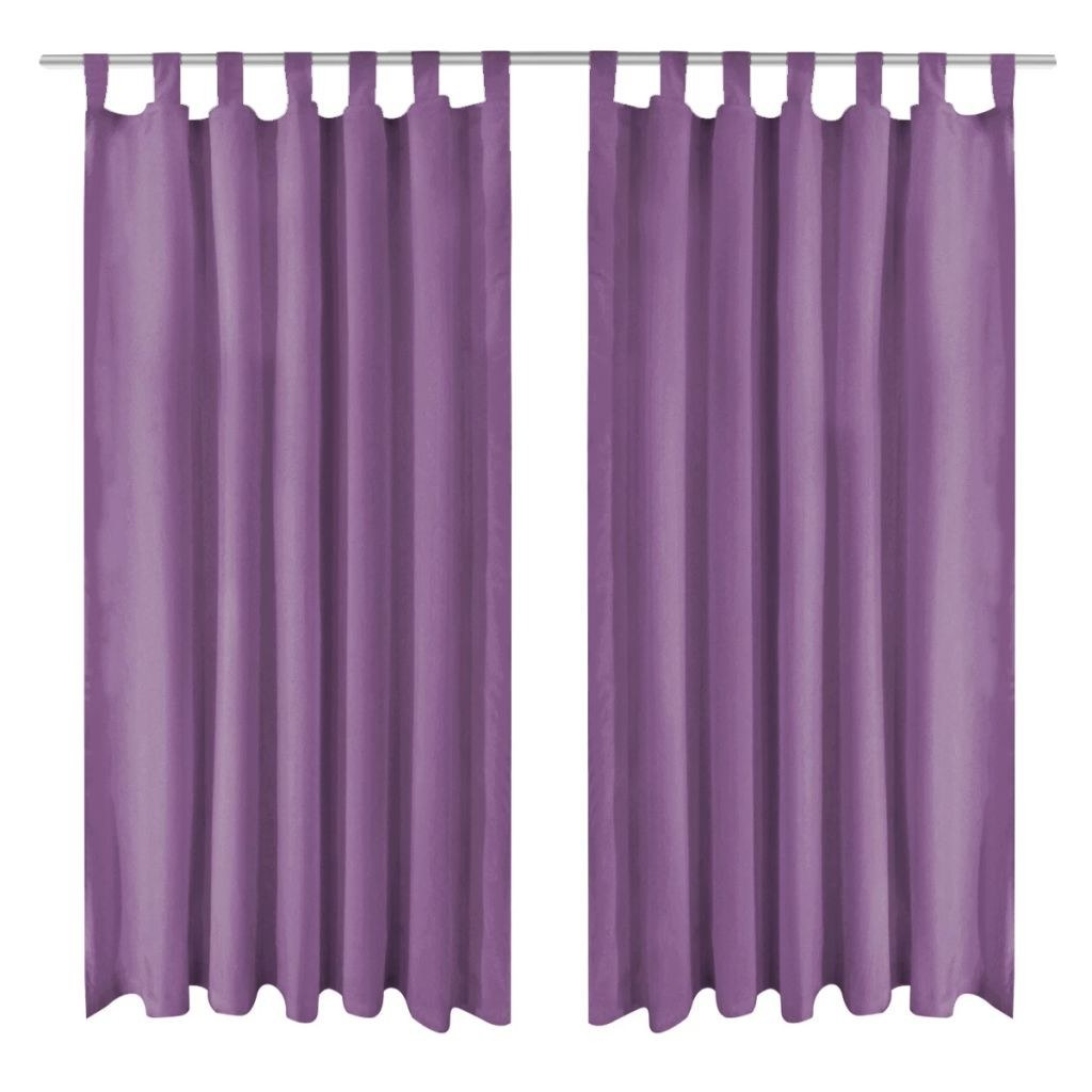Curtains Micro Satin 2 Pcs With Loops 140 175 Cm Purple S Online 棕色 Tomtop