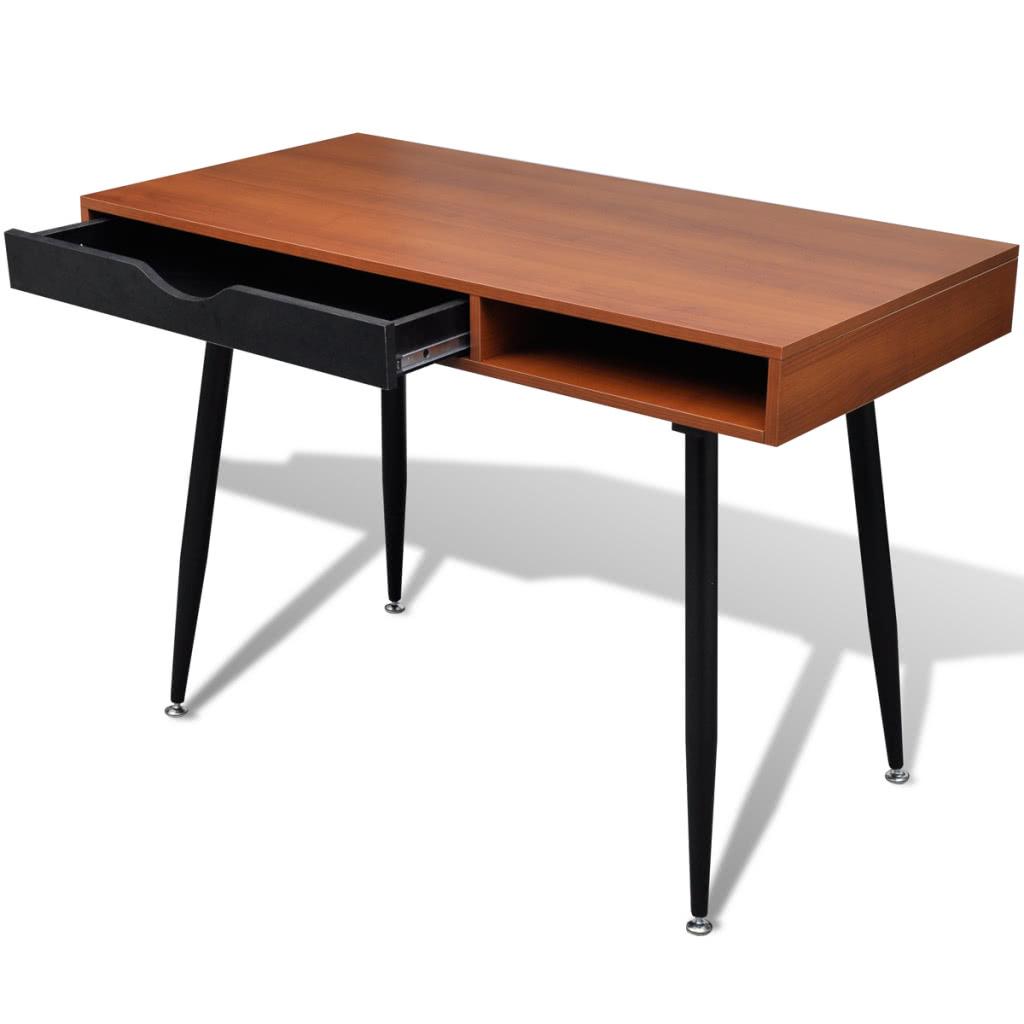 table de travail bureau d 39 ordinateur bureau bureau workstation brun. Black Bedroom Furniture Sets. Home Design Ideas