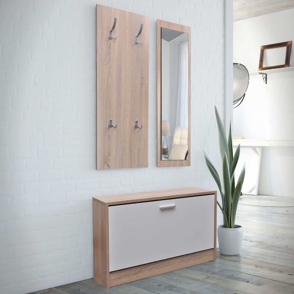 Hall d 39 entr e couloir 3 in 1 shoe miroir tipper meuble for Miroir couloir entree
