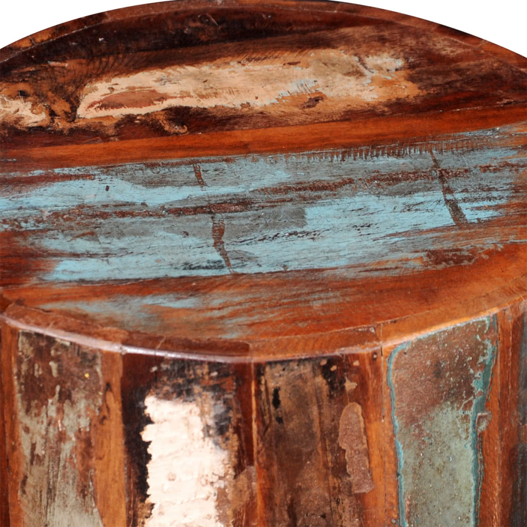 Reclaimed solid wood cylinder stool sales online tomtop for Reclaimed wood online