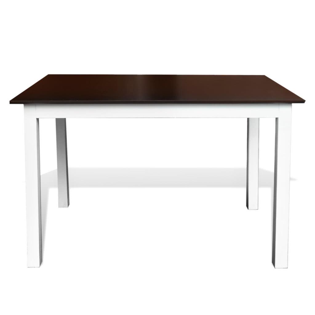 stabiler braun wei er esstisch aus holz 110 cm. Black Bedroom Furniture Sets. Home Design Ideas