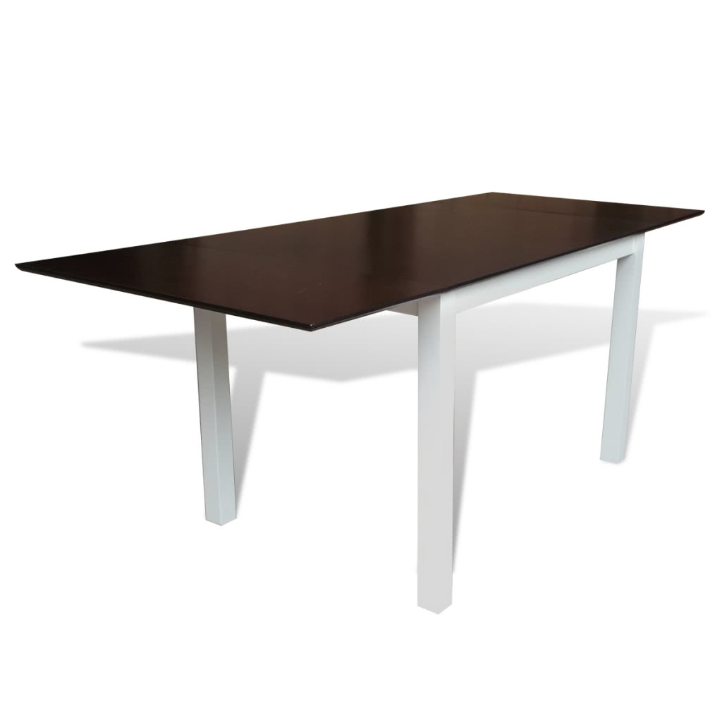 stabiler braun wei er erweiterbarer esstisch aus holz 195 cm sales online tomtop. Black Bedroom Furniture Sets. Home Design Ideas