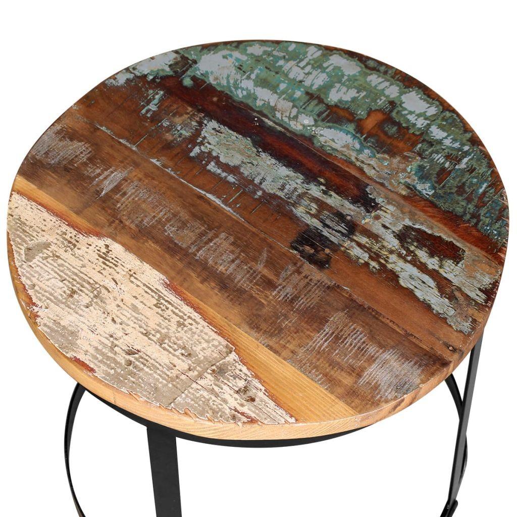 Zweiteiliger Couchtisch Set Solid Altholz Runde 40cm 50cm