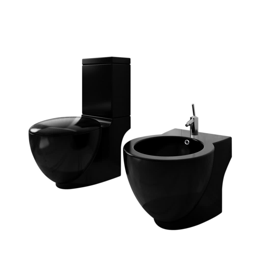stand toilette wc wc sitz stand bidet bodenstehend schwarz. Black Bedroom Furniture Sets. Home Design Ideas