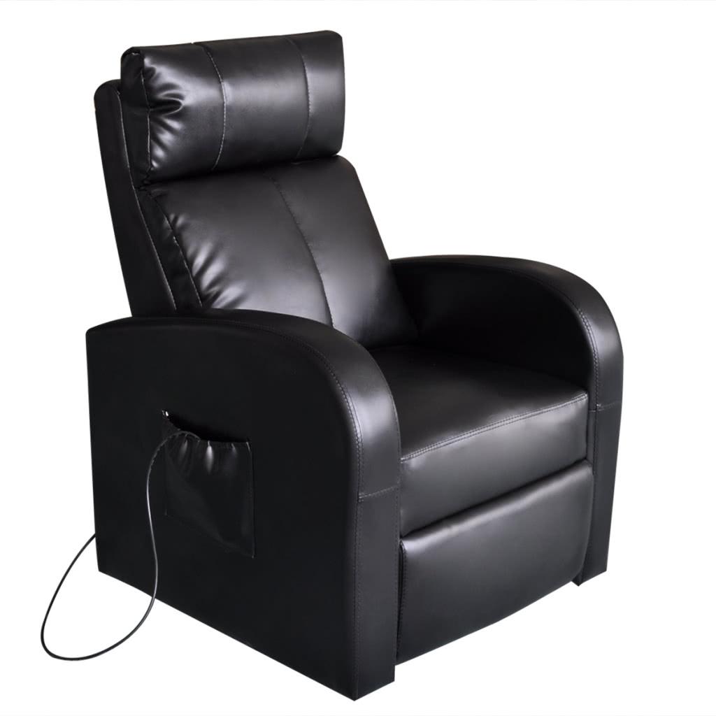 chaise de massage lectrique en cuir artificiel noir. Black Bedroom Furniture Sets. Home Design Ideas