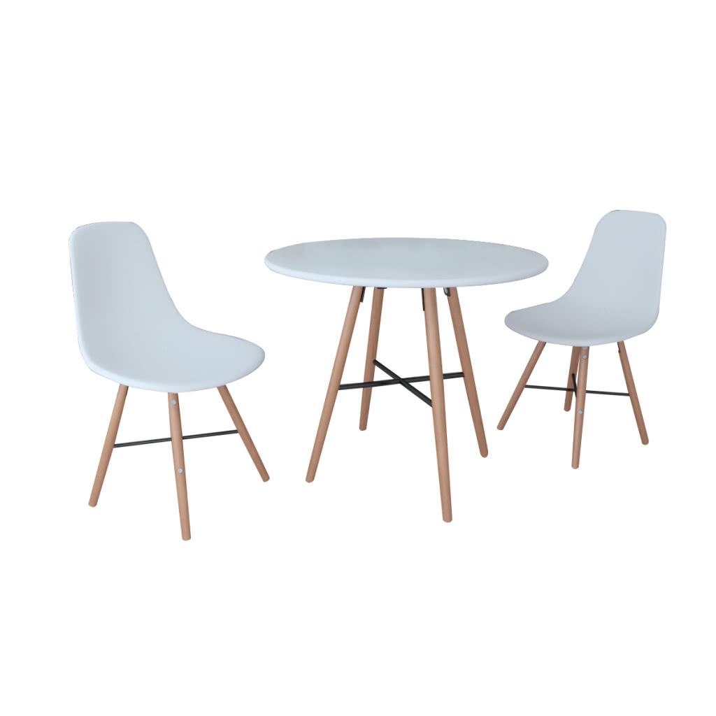 Blanco conjunto comedor 1 mesa redonda con 2 butacas sin for Sillas para mesa redonda