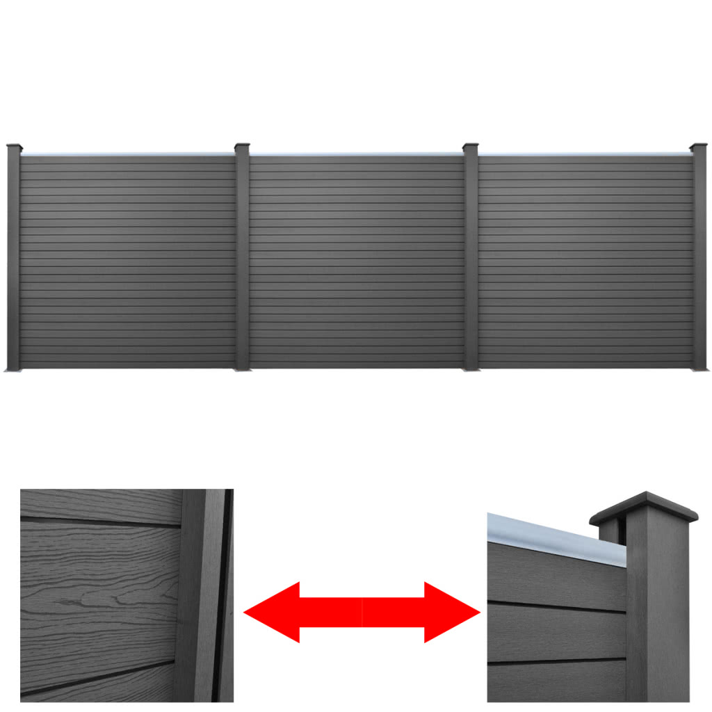 3 pc platz wpc gartenzaun panel grau 583 cm 3 x 41554 schwarz. Black Bedroom Furniture Sets. Home Design Ideas