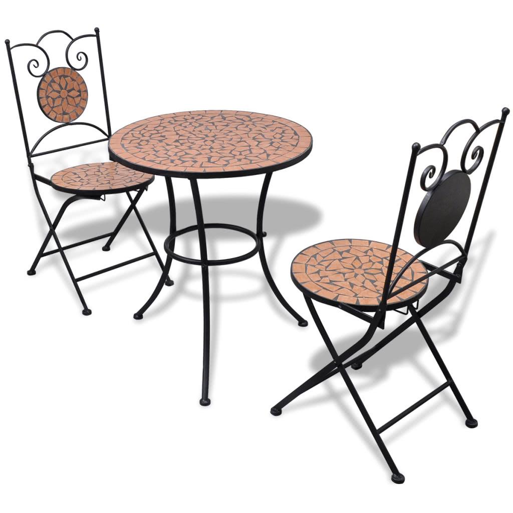 Mosaic bistro table 60 cm avec 2 chaises en terre cuite for Ensemble patio liquidation