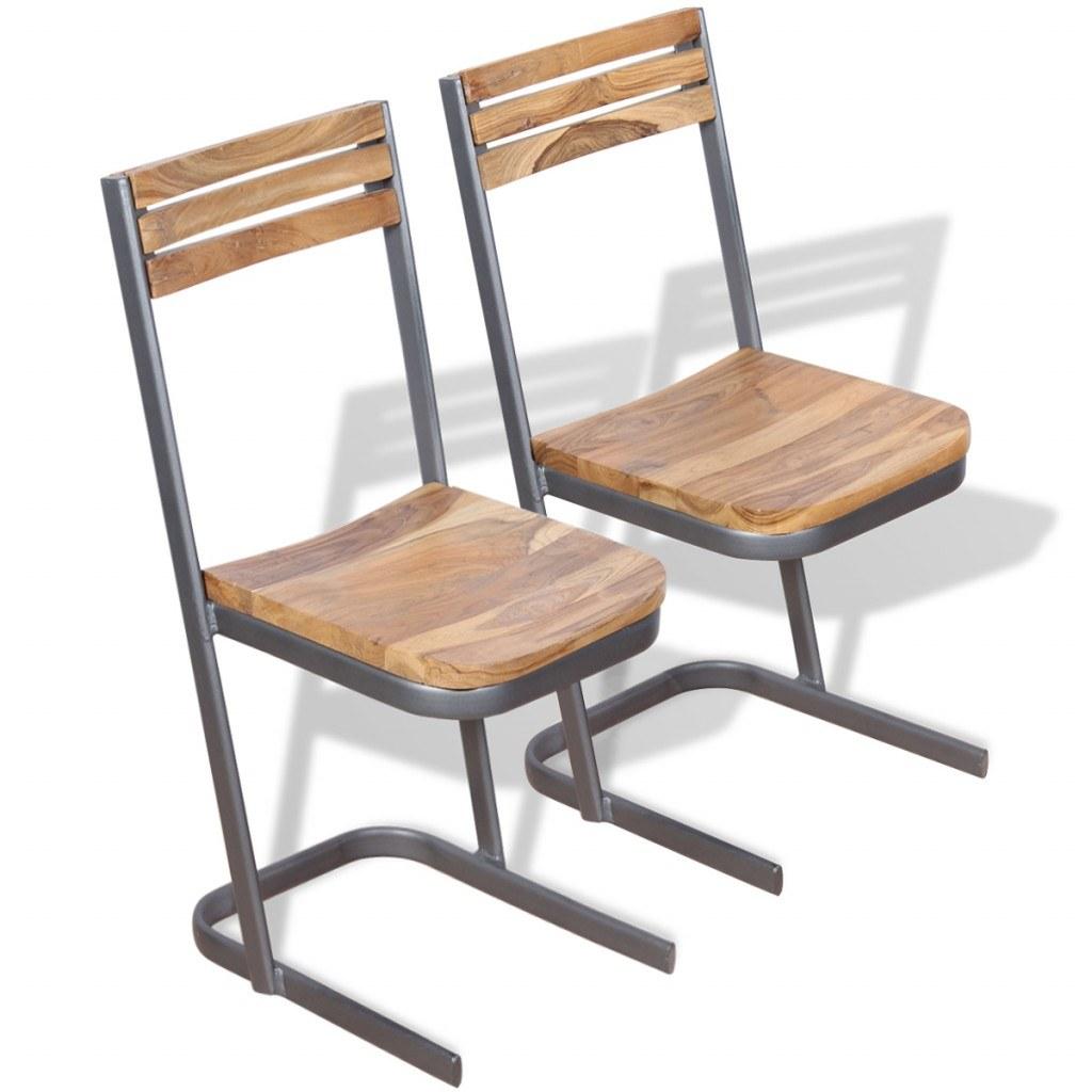 2 st ck massivholz teak esszimmer st hle braun. Black Bedroom Furniture Sets. Home Design Ideas