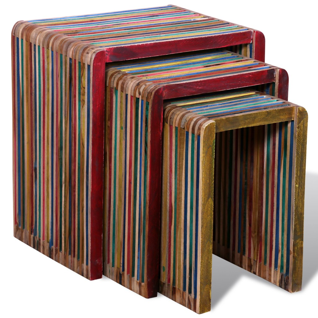 September 3 Nesting Tables In Stained Antique Teak Wood