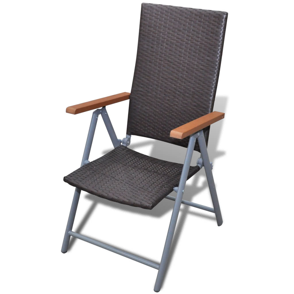 Marr n poli rattan muebles de jard n silla conjunto 2 for Muebles de jardin en aluminio