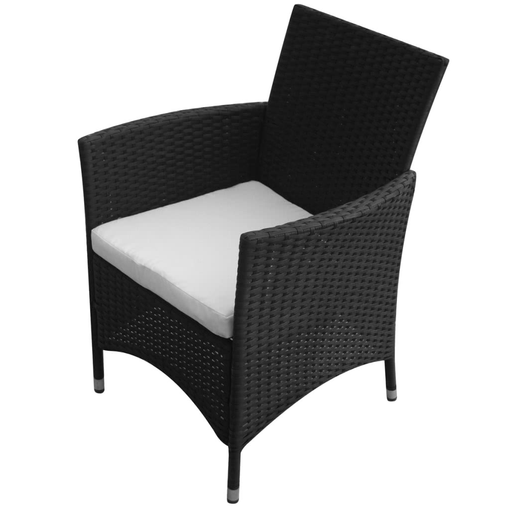 poly rotin meuble de jardin noir 8 chaises 1 table. Black Bedroom Furniture Sets. Home Design Ideas