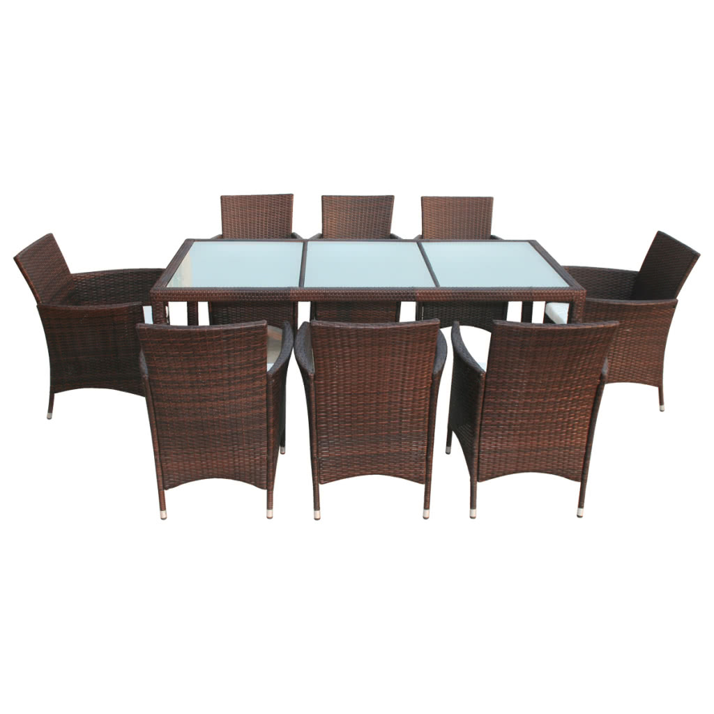 brown poly rattan garden furniture set 1 table 8 chairs sales online tomtop. Black Bedroom Furniture Sets. Home Design Ideas