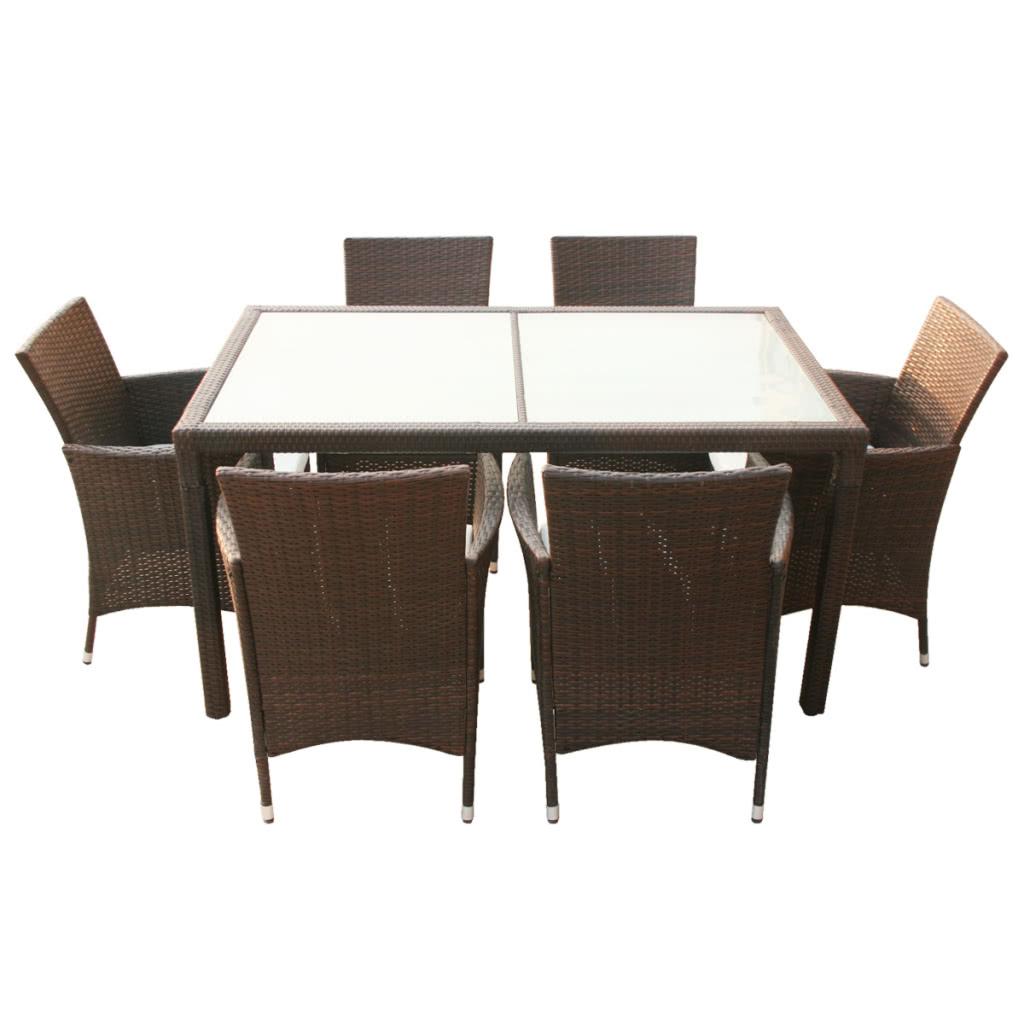 Brown Polyrattan Gartenmöbel Set 1 Tabelle 6 Stühle - Tomtop.com