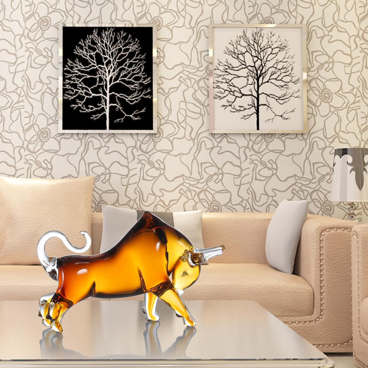 Tooarts yellow cattle glass sculpture home decor animal for Gift craft home decor