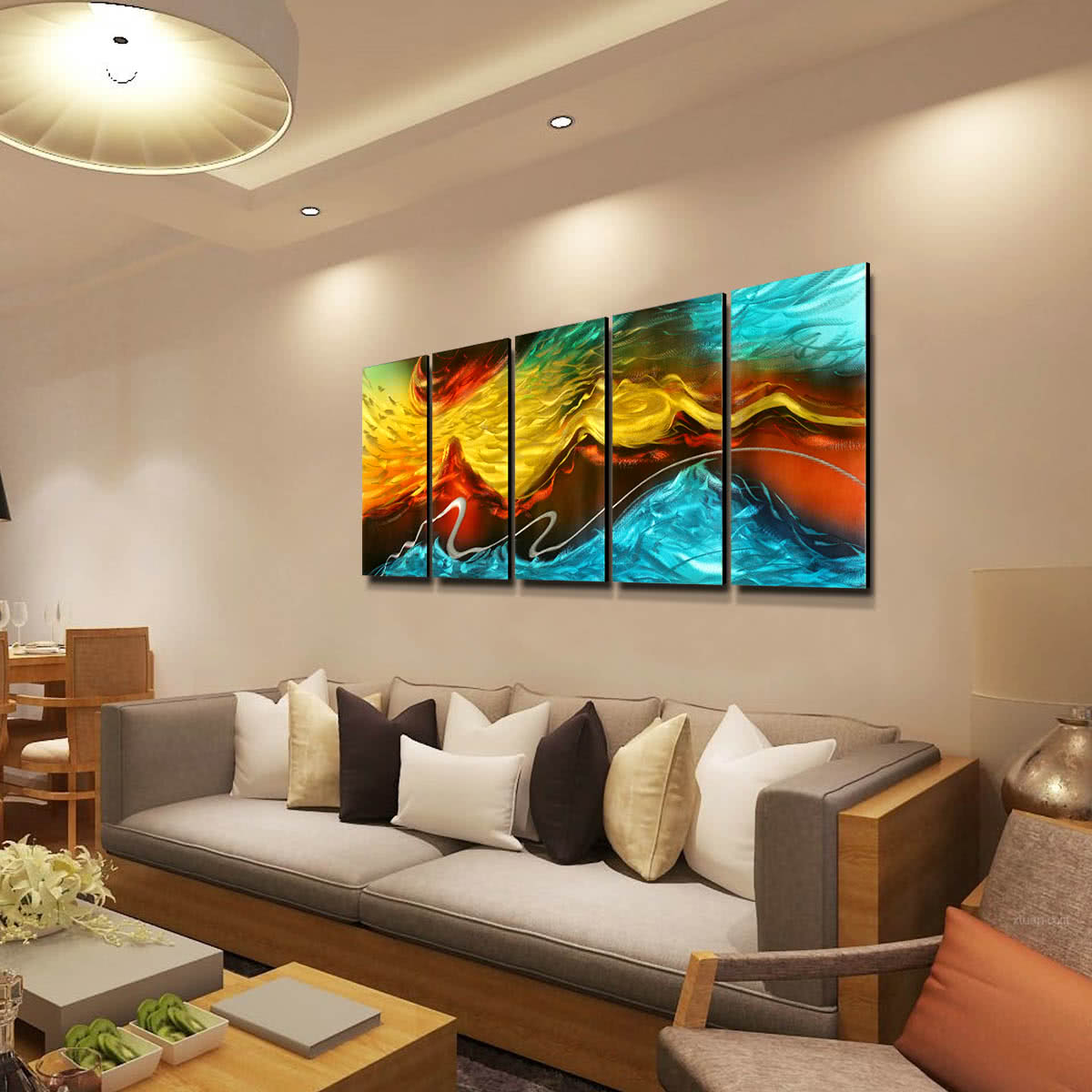 Tooarts fuego y hielo pintura moderna arte abstracto de - Paneles decoracion paredes ...