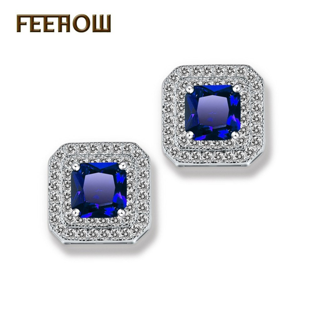 new micro inlaid aaa zircon simple square atmosphere earrings blue online shopping tomtop. Black Bedroom Furniture Sets. Home Design Ideas