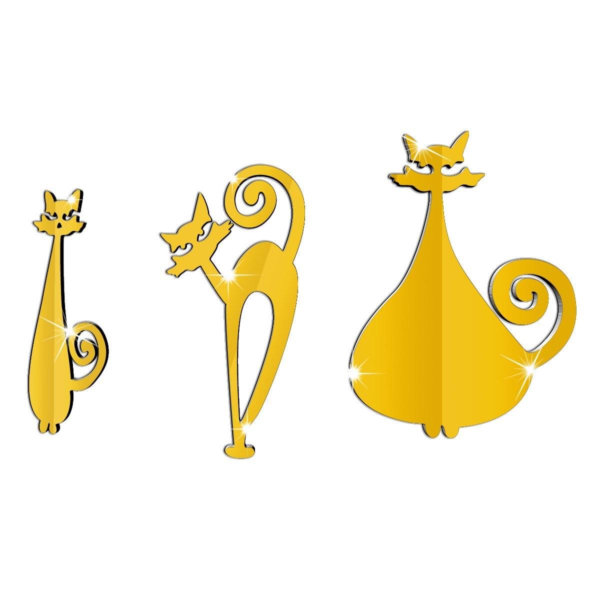 three cat mirror wall stickers DIY decorative stickers black Sales ...