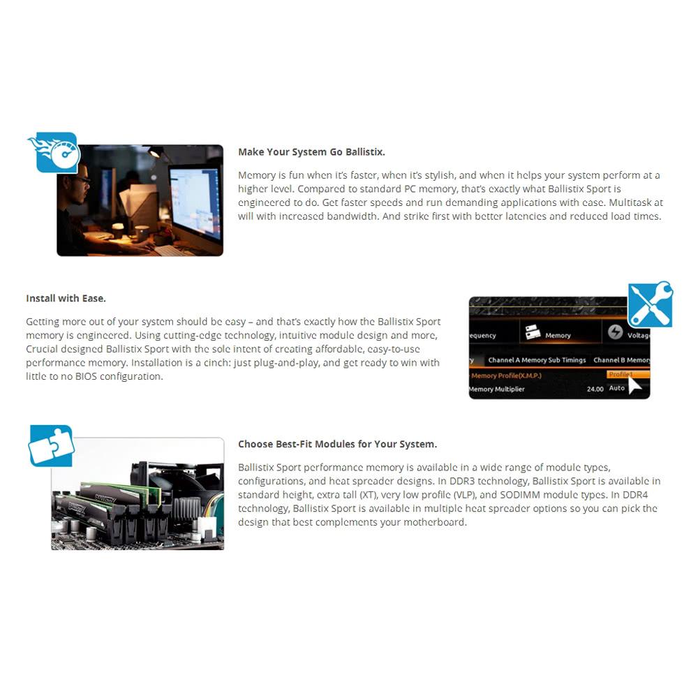 Crucial Ballistix Sport 8GB Single DDR3 1600 MT/s PC3-12800 CL9 1 5V UDIMM  240-Pin Memory (BLS8G3D1609DS1S00)