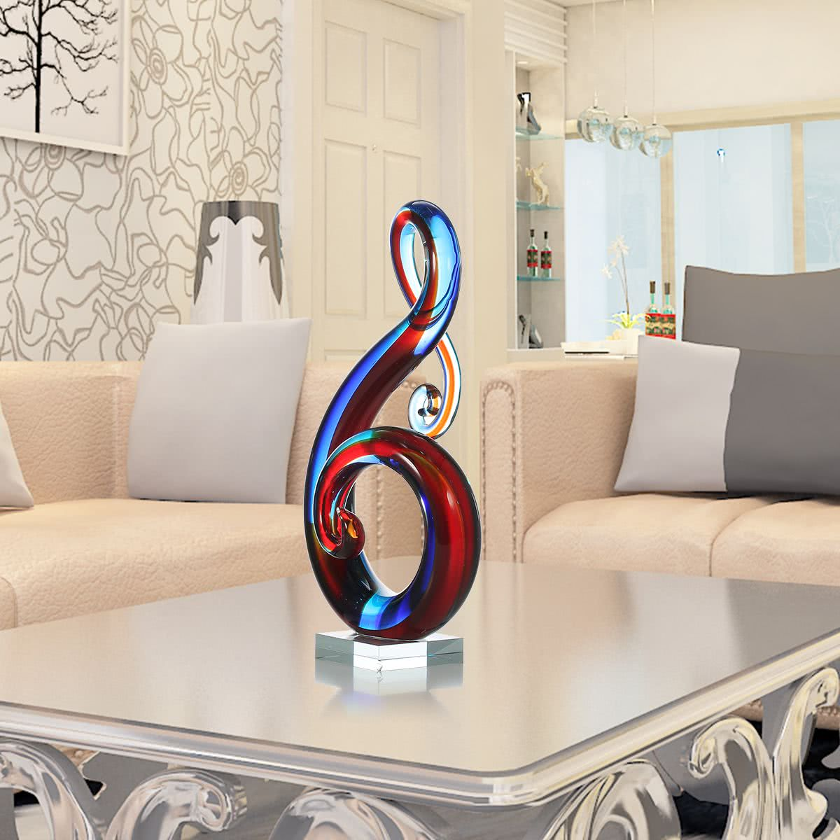 Tooarts music note glass sculpture home decor abstract for Gift craft home decor