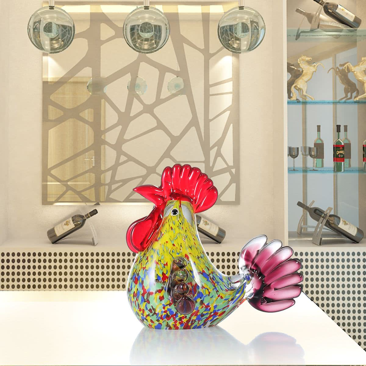 Tooarts multicolor rooster glass sculpture home decor for Gift craft home decor