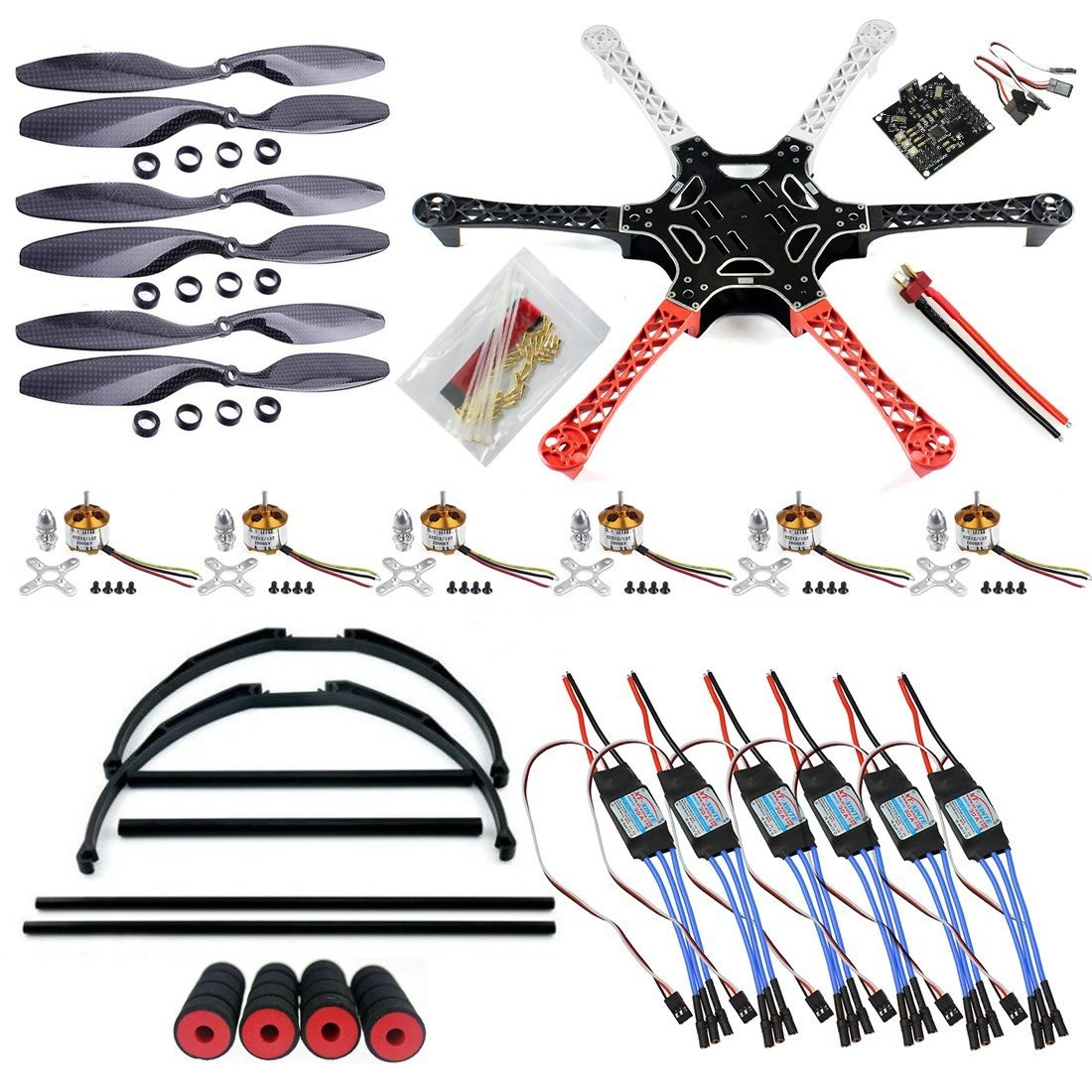 Mejor QWinOut F550 RC Hexacopter Drone Antena FPV ARF Upgrade Kit ...