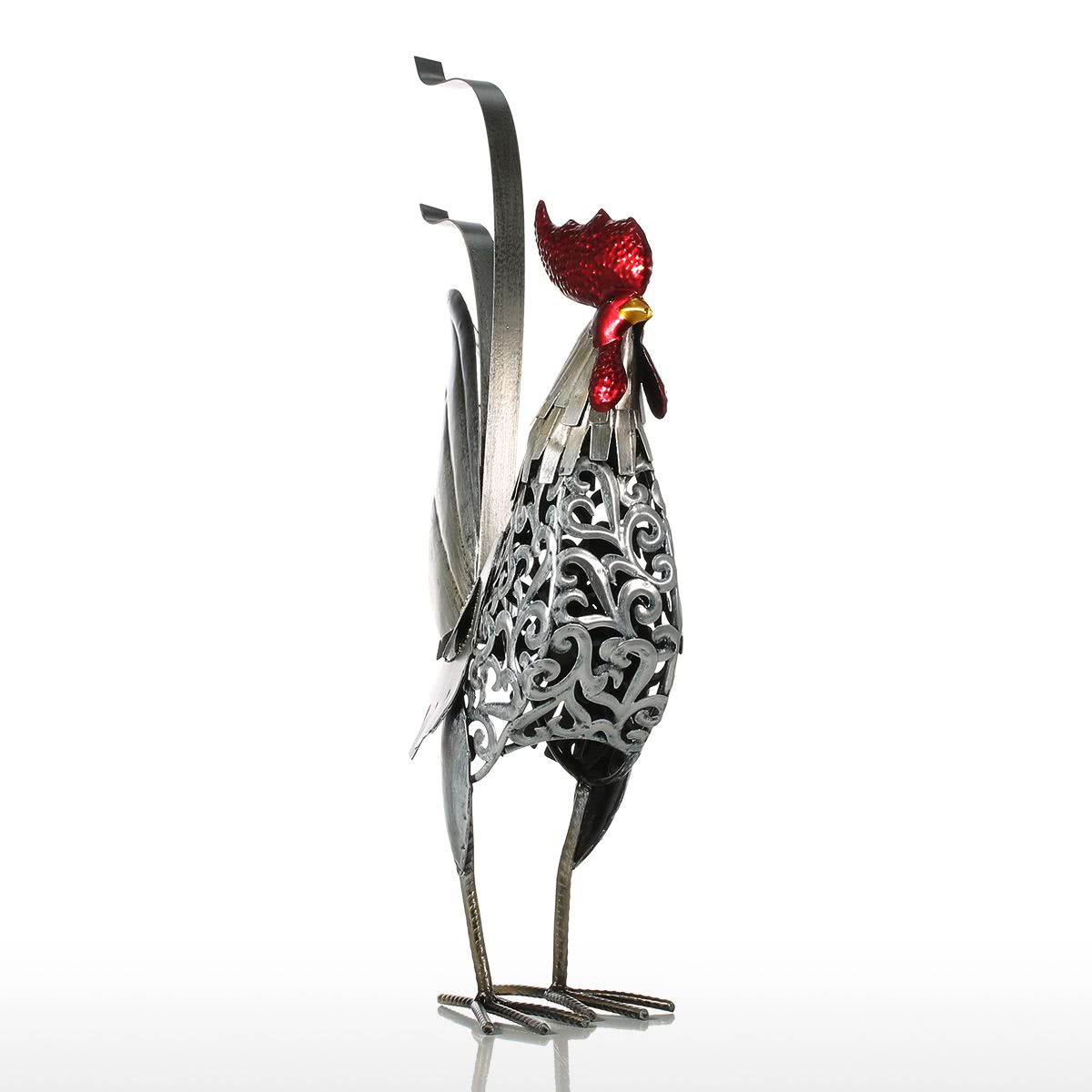 Tooarts Metal Figurine Iron Rooster Home Decor Articles: Tooarts Carved Iron Rooster Metal Sculpture Home Decor