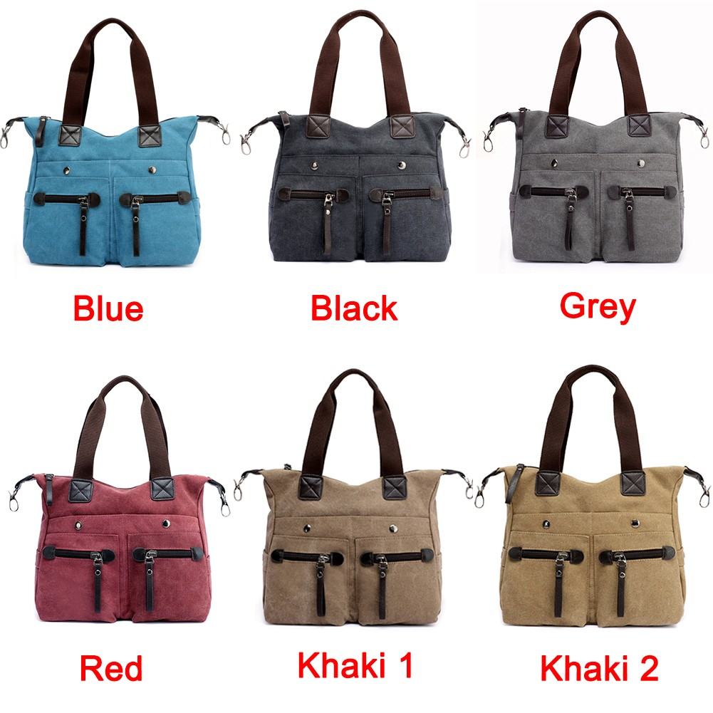 5278dc35fbd7 Fashion Women Canvas Handbag Casual Shoulder Bag Pockets Large Capacity  Vintage Crossbody Tote Travel Bag black Online Shopping