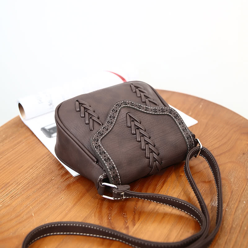 New Fashion Women Crossbody Bag PU Leather Hollow Out Woven Braided Vintage Casual Shoulder Bag